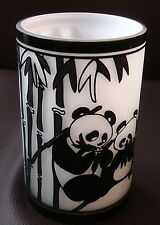 Hand-made glass decorated with etched pandas and bamboo