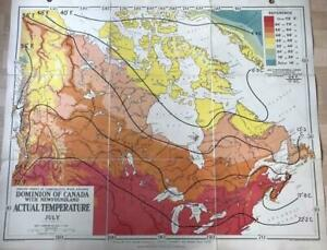 1951 Schoolroom Map of Canada by Philip.