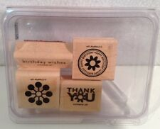 Stampin Up! Wow Flowers Set Of 4 Wood Mounted Rubber Stamps Pre-Owned