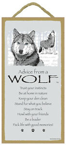 """ADVICE FROM A WOLF Primitive Wood Hanging Sign 5"""" x 10"""""""