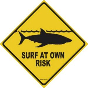 Seaweed Yellow Surf At Your Own Risk Shark Sign Aluminum Sign  12x18