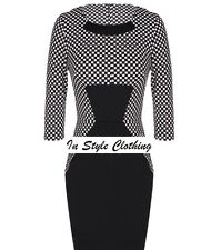 MILEY GORGEOUS LADIES SIZE 14 BLACK WHITE CHECK COLOUR BLOCK PENCIL DRESS