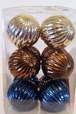 12 SILVER BROWN BLUE 2.25 IN SHATTER RESISTANT CHRISTMAS ORNAMENT DECORATION