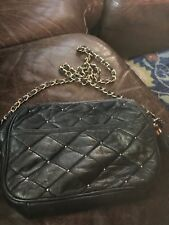 Paradox Leather Black Quilted Soft Leather Shoulder Bag Gold Chain Small 9x7