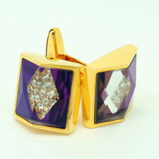 Gold Coloured and Purple Cufflinks with Stones