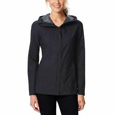 NEW 32 Degrees Womens Rain Jacket Coat LARGE Black Waterproof TLS72017CO UPF 30+