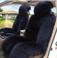 Black Premium Quality Australian Sheep Skin Car Long Wool Front Seat Cover AU