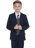 Boys Suits Boys Check Suits, Page Boy Wedding Prom Party Suit, Boys Navy Suit Tb