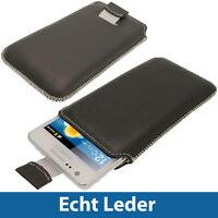 Schwarz Echt Leder Tasche Hülle Beutel Holster für Samsung i9100 Galaxy S2 II