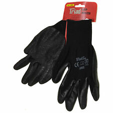 Large Black Latex Coated Grip Gloves Elasticated Wristband Breathable Back Triad