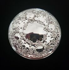 "Vintage Towle .925 Silver Embossed Repousse Hand Mirror In Pouch 3.25"" (M-001)"