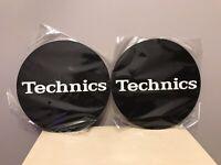 2 X TECHNICS DECKS Slipmats BLACK/WHITE/Logo / Brand New DJ SLIPMATS UK