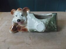 Vintage Art Pottery Planter of a Bear Resting in a Log
