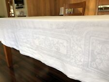 "Vintage Elegant Filigree 70"" Square White Damask Linen Tablecloth (RF822)"