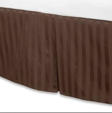 Damask Stripe Collection Twin BedSkirt 500 Thread Count 15 inch Chocolate NEW
