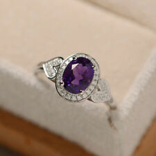 14K White Gold 1.70 Ct Natural Diamond Oval Cut Natural Amethyst Ring Size N P M