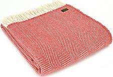 TWEEDMILL TEXTILES 100% Wool Blanket Sofa Throw FISHBONE CRANBERRY RED KNEE RUGa
