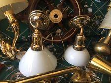 Lampada stile marina da perete applique in ottone dorato 24 kt vetro bianco