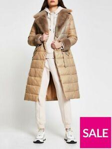 New River Island Faux Fur Longline Padded Coat - Cream UK 10