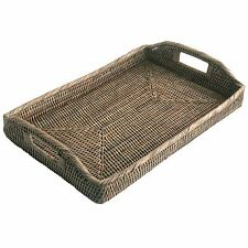 Best Quality Grey Oblong Woven Wicker Rattan Serving Tray