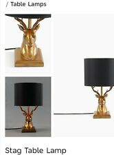 M&S Black And Gold Stag Head Table Lamp New