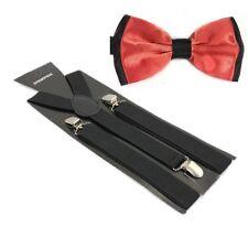 bretelles pour pantalon Lot nœud Cravate ruban saumon noir contraste