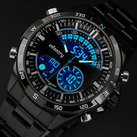 🎁INFANTRY Mens LED Digital Quartz Wrist Watch Chronograph Black Stainless Steel