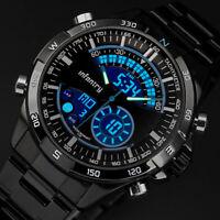 🎁INFANTRY Mens LED Digital Quartz Wrist Watch Chronograph Black Stainless Steel