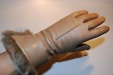 New Saks 5th Ave Women's Taupe Leather Gloves Rabbit Fur Trim Cashmere Lined