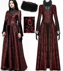 Robe bal gothique princesse baroque jacquard lamé fourrure laçage PunkRave Rouge