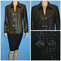 ST JOHN Knits Evening BLACK Gold JACKET L 10 12 Suit Blazer Rhinestones Sequined