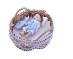 Tiny 1.5'' OOAK  handmade dolls house baby boy doll, basket, bedding + toy, 1:12
