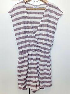 Sabo Skirt Playsuit Size M Stripe Jumpsuit Elastic Waist