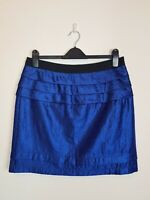 CUE Electric Blue Crinkled Satin Layered Ruffle Skirt Women's Size 14 MADE in AU