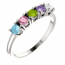 Birthstone Ring 14kt Yellow Gold / White Gold or Rose Gold Five Birthstones