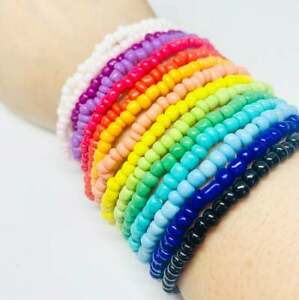 RAINBOW GLASS SEED BEAD STRETCHY STACKING BRACELET ASSORTED COLOURS