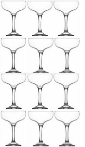 Martini Cocktail Glasses. Champagne Coupe Saucers. (Set of 12) (200 ml).