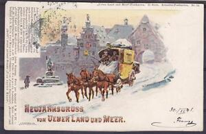 Old Ak Carriage New Year 1899, Horses, Over Land And Sea, Artistic Card