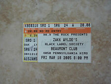 Zakk Wylde Black Label Society Bls Pa Concert Ticket Stub Rare 2005