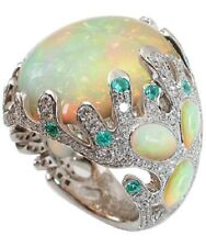Vintage Women White Fire Opal Silver Wedding Engagement Ring Jewelry Size 6-10