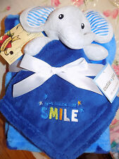 CUTIE PIE BLANKET & SECURITY COMBO ELEPHANT LOT 2 STARS YOU MAKE ME SMILE BLUE