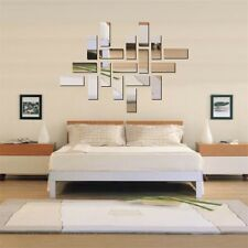 Acrylic 3D Rectangle Mirror Effect Mural Wall Sticker Decal Home Room Decor DG
