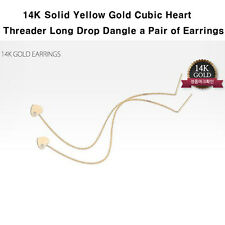 TPD Solid 14K Yellow Gold Cubic Heart Threader Long Drop Dangle a Pair Earrings