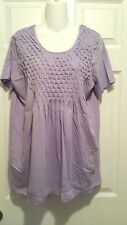 ROMAN'S SHORT SLEEVE KNIT TOP LILAC BASKET WEAVE LOOK SIZE S -NEW