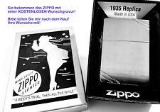 Zippo 1935 Replica chromgebürstet - mit KOSTENLOSER Wunsch Gravur !