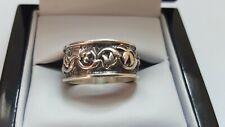 Vintage Sterling Silver Wide Band Engraved Unisex Ring