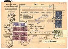 AZ261 1956 Switzerland HIGH VALUES Bulach *Insured Mail* Card Italy PTS