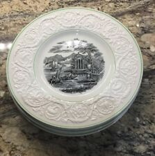 LOT OF 4 WEDGWOOD ETRURIA DINNER PLATES PATRICIAN AK870 WATER SCENE GREEN TRIM