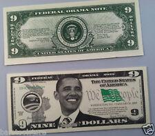 Nine DOLLARS Barack H. Obama FAKE DOLLAR BILLS funny money Lot of 10-