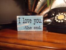 Wooden sign. I love you wood decor for tabletop. Vinyl letters. Oracal 651 black